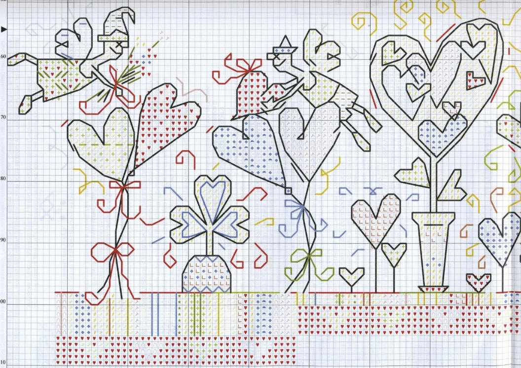 Бэкстич на схемах изображают линиями разных цветов